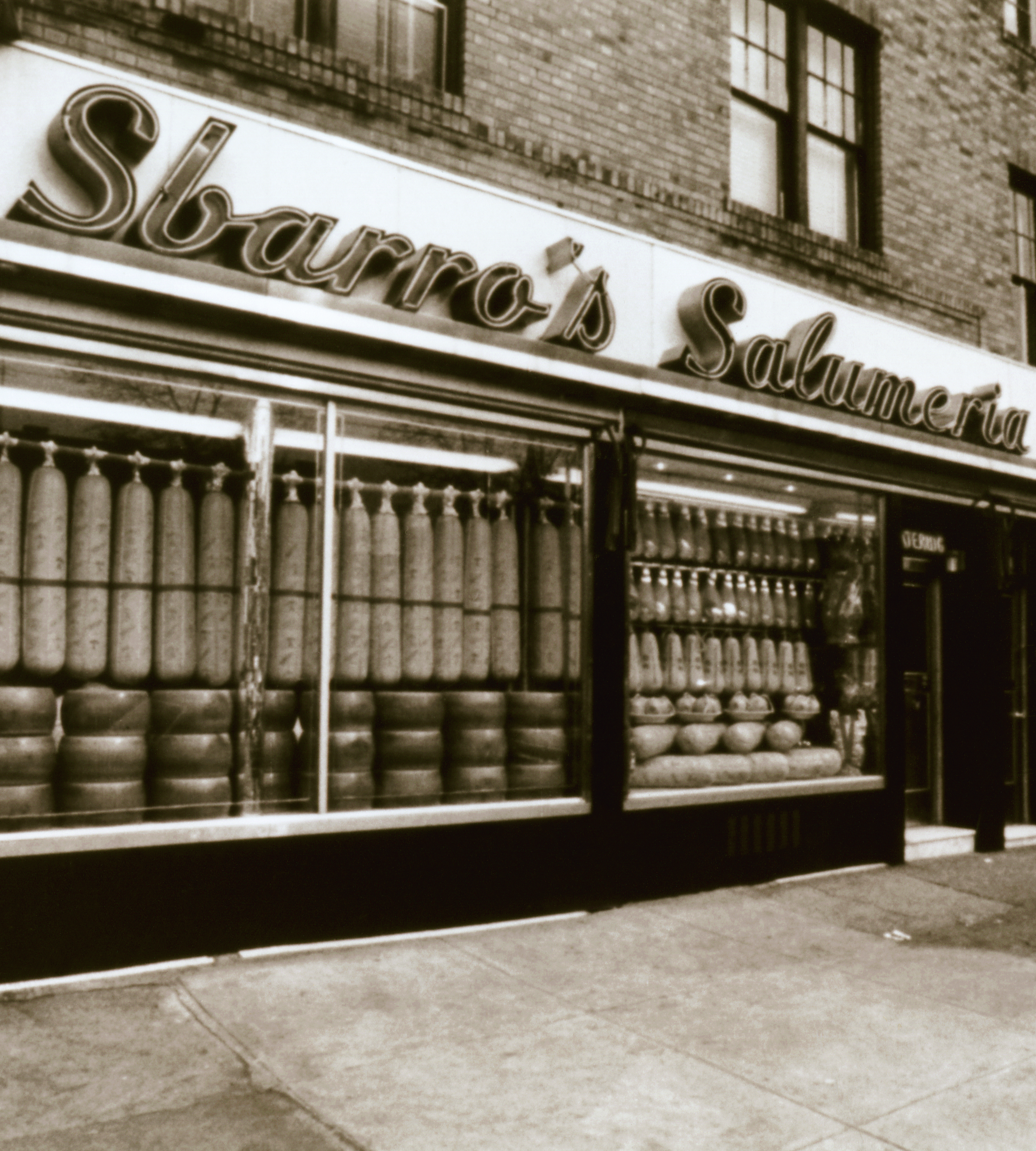 "Historic storefront reading ""Sbarro's Salumeria,"